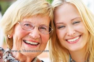 Grandparent and daughter